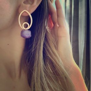 Rose Gold Plated Purple Earrings